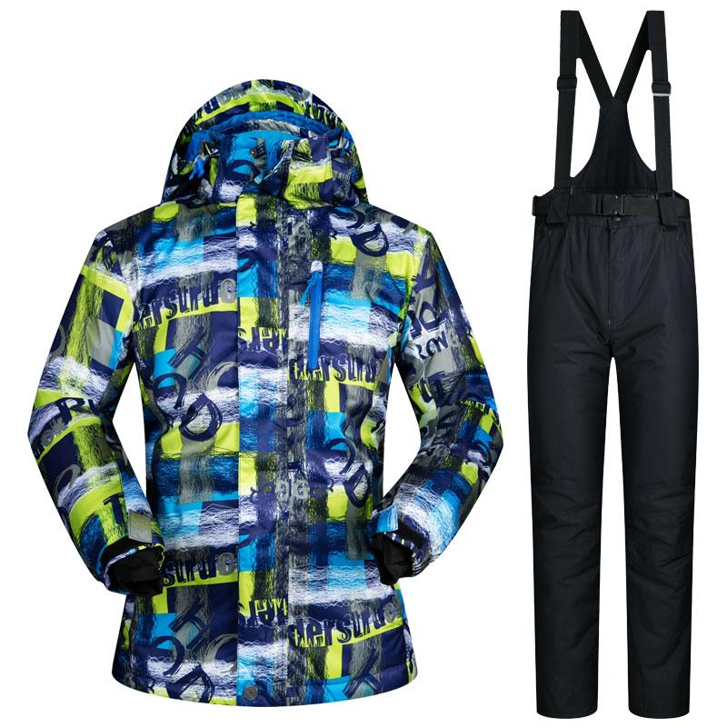 2017 New arrival Ski Suit Men Waterproof Thicken Snowboard Jacket Ski Jumpsuit Outdoor Snow Mountain Skiing Suits Winter Warm mountain skiing suit women 2017 new ski