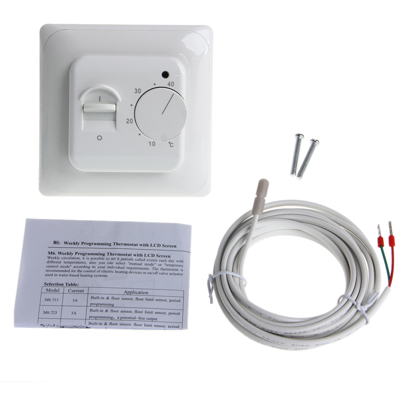 Analog Thermometer Floor Heating Thermostat Air Condition Temperature Controller Switch 16A 220V in Temperature Instruments from Tools