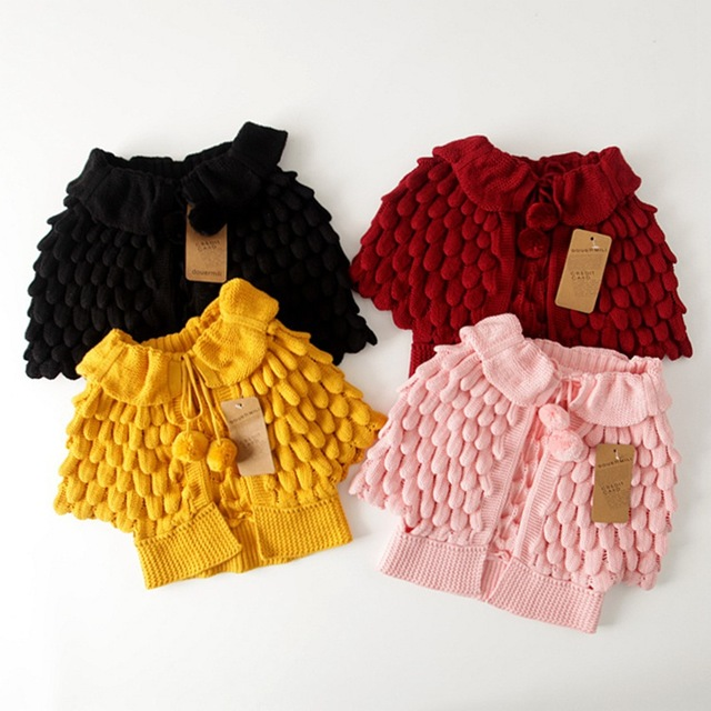 2016 Kids Girls Knit puff cardigan baby girl Batwing poncho babies Fall Winter outwear knit sweaters children's clothes