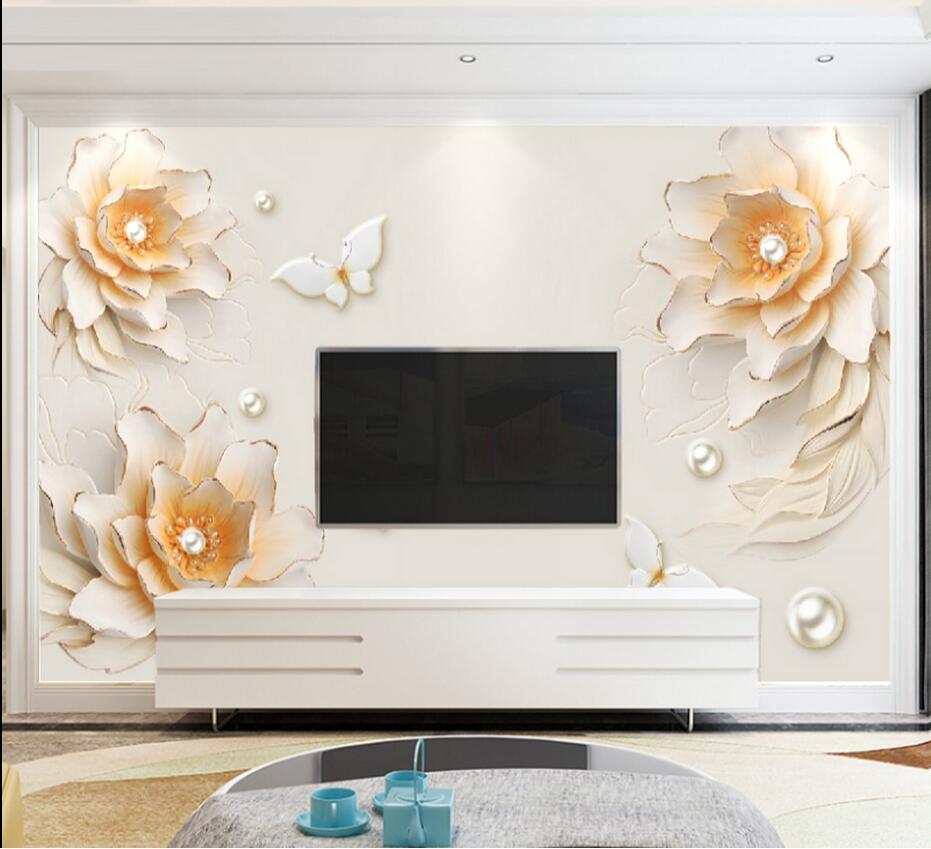 European Vintage 3D Flower Wallpaper Photo Wall Mural Wall Paper For Living Room TV Background Papier Peint Pour Les Murs 3 D