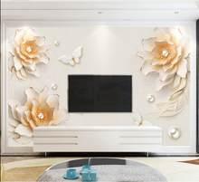 Papier Peint Vintage européen motif fleurs 3D, tapisserie murale avec Photo, Pour salon et derrière TV