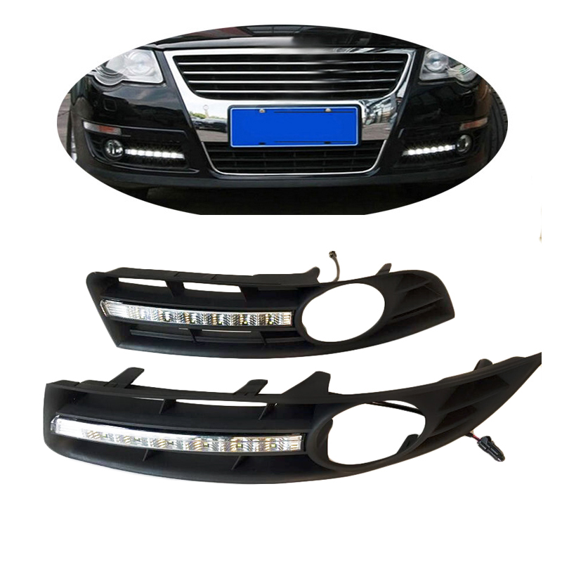 High quality 2pcs LED DRL Day Lights For VW MAGOTAN 2008 2009 2010 Daytime Running Light with Fog Lamp hole car styling