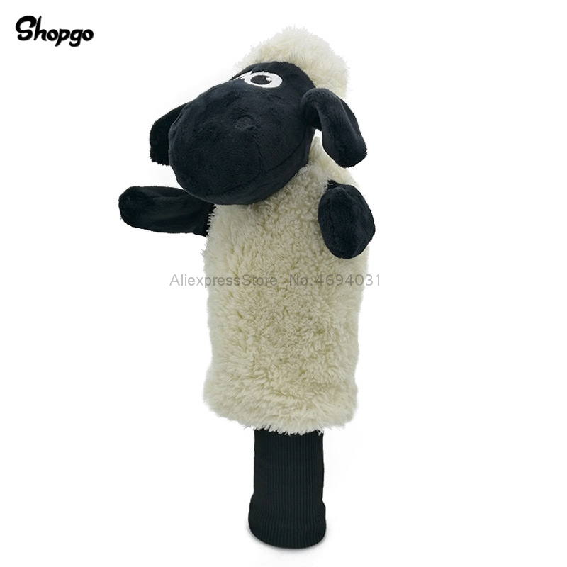 Plush Sheep Golf Head Cover Fairway Woods & Hybrid Rescue Cartoon Animal Golf Clubs Headcover Mascot Novelty Cute Gift