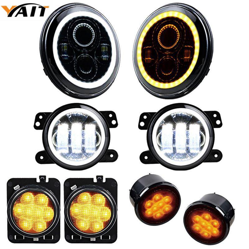 Set for Jeep Wrangler 07-17 7'' Headlight + 4'' Fog Lamp Halo Ring + Turn Signal Light + Side Maker LED Lighting
