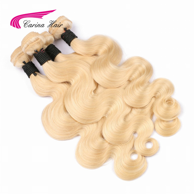 Carina Hair Blonde Brasilian Remy Human Hair Bundles 1PCS Pure 613 Color Body Wave Hair Weft 8-tommers 28-tommers Hair Extensions