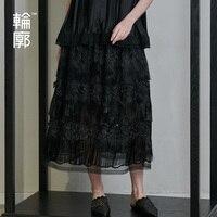 Контур оригинальный дизайнерская юбка длинные Ретро вышивка шить Мода кисточкой Винтаж юбка для женщин L191Q002