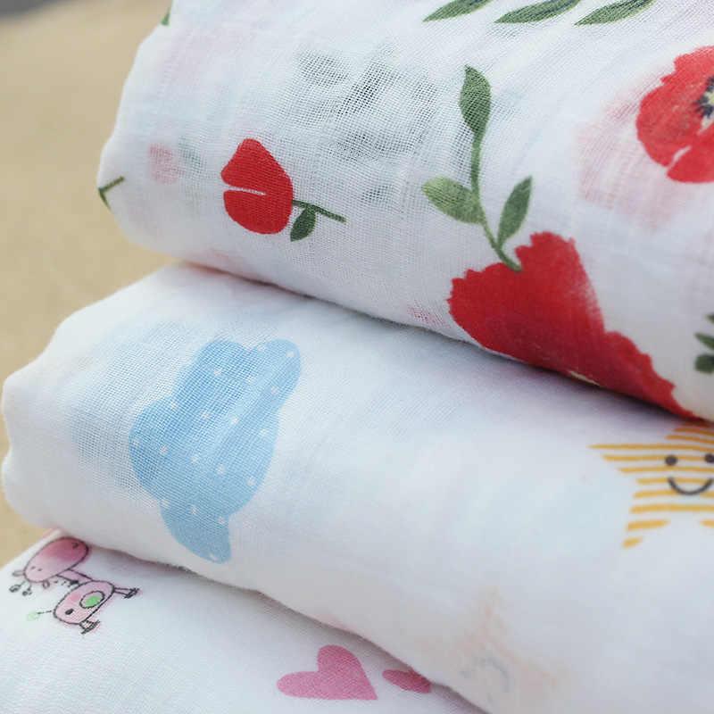 Розовый Лебедь 100% хлопок Фламинго Роза фрукты печати муслиновые одеяла для новорожденных постельные принадлежности младенческой пеленать полотенце для пеленки для новорожденных одеяло