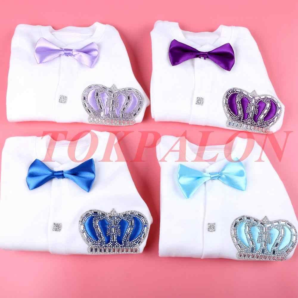 Одежда для новорожденных от 0 до 3 месяцев комбинезон для маленьких мальчиков, хлопковый комбинезон с изображением короны из горного хрусталя, ленты jurken, белый Пижамный комплект для маленьких мальчиков, jurkje