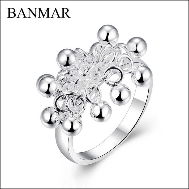 BANMAR Silver Plated Ring Ball Ring Size 6/7/8/9 Silver Rings Wedding Bague For Women Couple Rings For Lover Accessories Bijoux