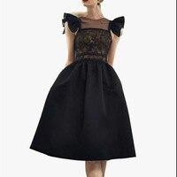 2018 women high end new fashion elegant vestidos bodycon slim party vintage runway spring summer lace sexy ball gown dress black