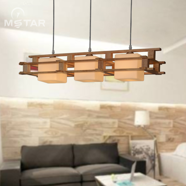 Solid Wooden Wood Japanese Pendant Lights Creative Decoration Dining Room Bar Dinner Living