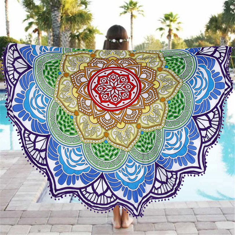 Beach Towel in Bath Towel 2017 New Summer Round Beach Pool Durable Home Shower Towel Blanket Table Cloth Mat High Quality Apr 19