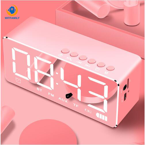 Mirror radio Bluetooth Alarm Clock Home Overweight Subwoofer LED Lights Small Stereo Smart  Speaker Wireless Mobile Computer