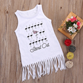 0-2Y Fashion Baby Girl Clothes Summer Tassel Dress Kids Infant Girl Sleeveless White Dress with Printed Kids Cute Princess Cloth
