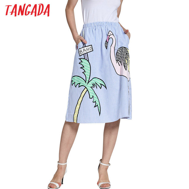 Tangada High Waist Bird Print Skirts 2017 Women Striped Skirt Elastic Waist Skirt Female Vintage Summer Skirt Saias SY47