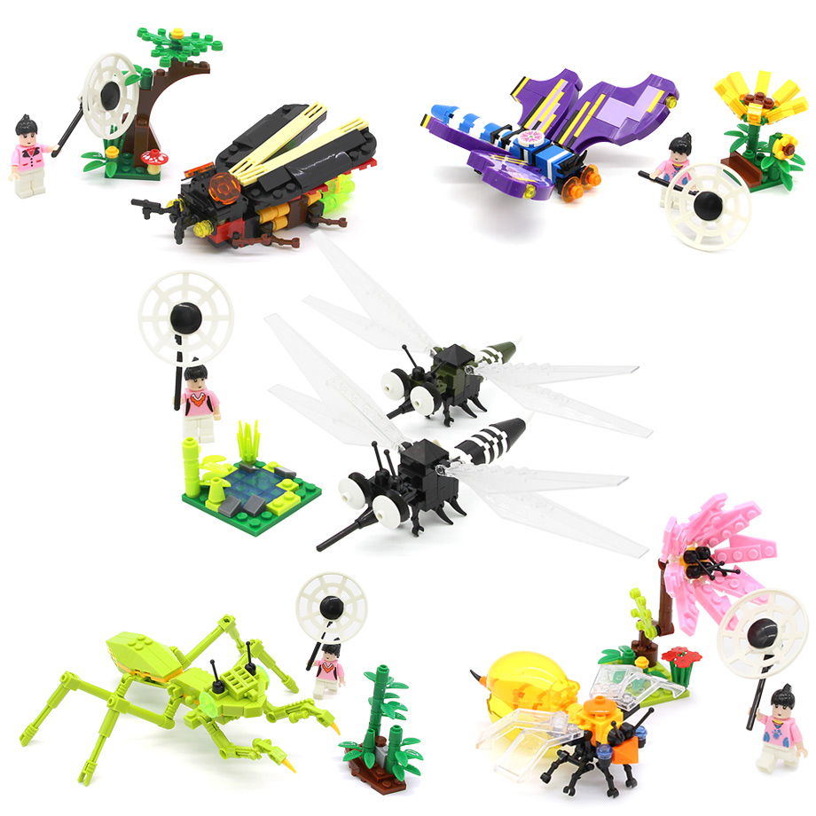 5in1 Insect II Variation Flies Transfomable Butterfly Mosquito Mantis Bee Firef Building Block Sets Model Educational Toys children large plastic 3d butterfly dragonfly beetle insect model interesting science activity toys