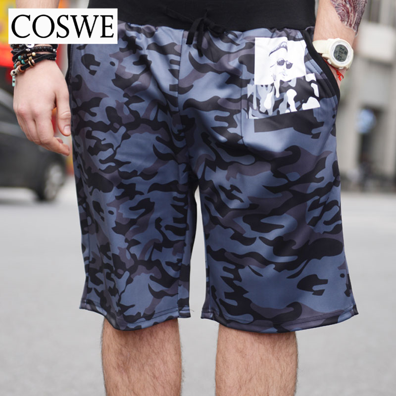Coswe 6xl 5xl print mens beach shorts plus size fashion men short pants brand man camouflage