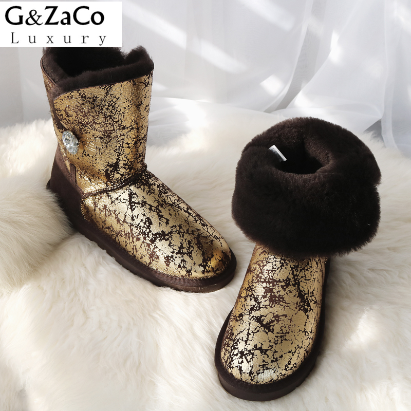 G&Zaco Luxury Women Natural Sheepskin Snow Boots Female Real Sheep Fur Crystal Button Mid Calf Boots Warm Flats Wool Shoes luxury women classic snow boots waterproof sheepskin wool one natural wool inside fur boots crystal buckle warm winter shoes