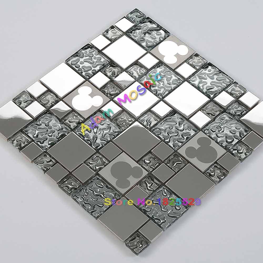 Silver Glass Mosaic Tiles Mickey Mouse Mirror Kitchen Backsplash Tile Shower Wall Fireplasce Materials Silver Glass Mosaic Tile Kitchen Backsplash Tilesmosaic Tile Aliexpress