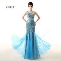 ZYLLGF Một Vai Buổi Tối Váy Đuôi Cá Dài Ren Đảng Evening Gowns Cộng Với Kích Thước Pha Lê Đính Cườm Evening Mặc Dubai ZL76