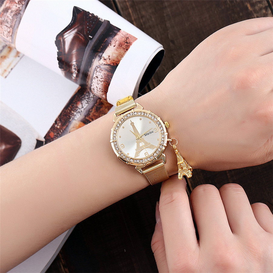 2017 MEIBO Brand Luxury Stainless Steel Tower Pendant Quartz Watch Silver Gold Mesh Thin Band Eiffel Tower Pendant Watches