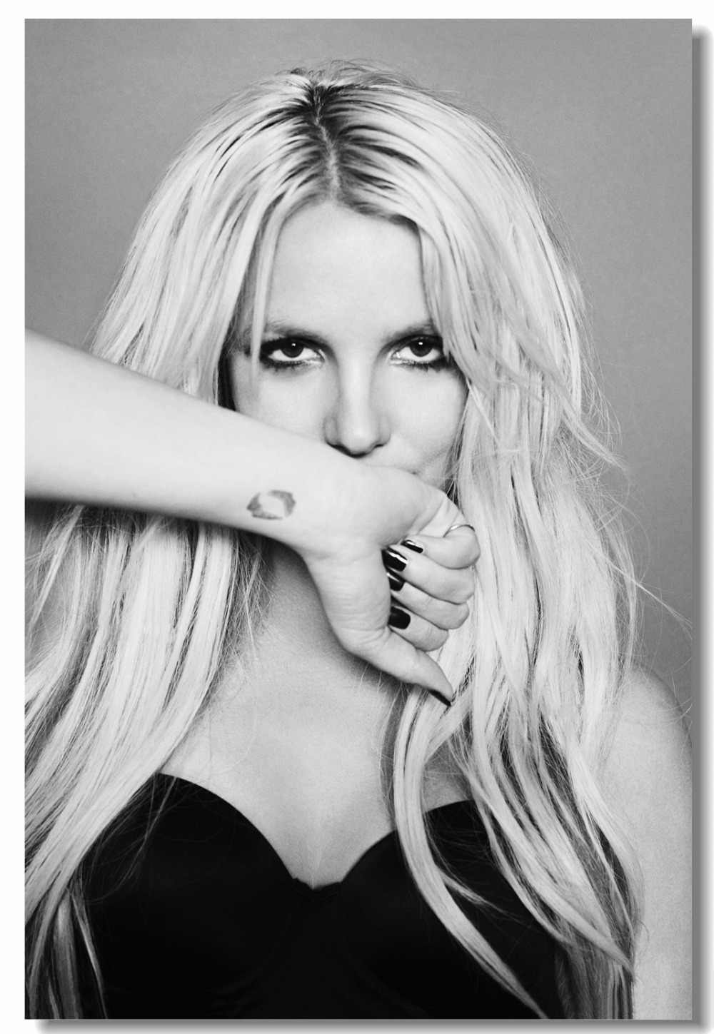 Custom Printing Canvas Wall Mural Britney Spears Poster Britney Spears Wall Sticker Black And White Wallpaper Room Decor 0904 Aliexpress
