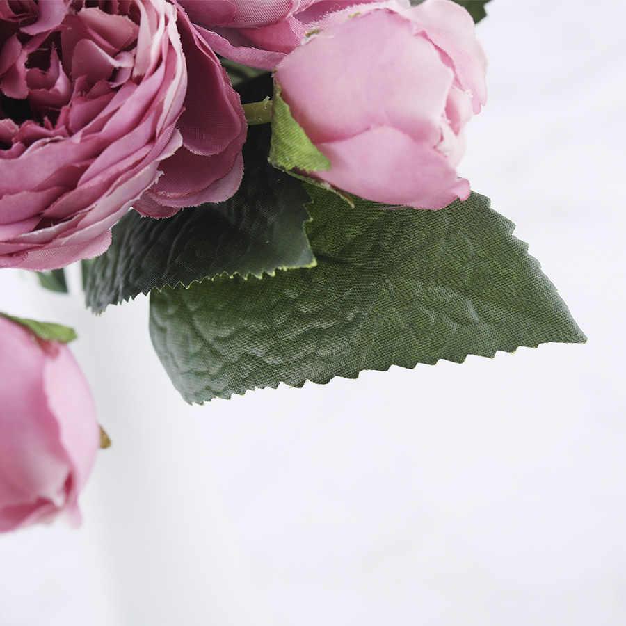 30 cm Rosa Peônia Rosa De Seda Flores Artificiais Flores Falsificadas Bouquet 5 Bud Cabeça Grande e 4 Barato para Casa decoração de casamento interior