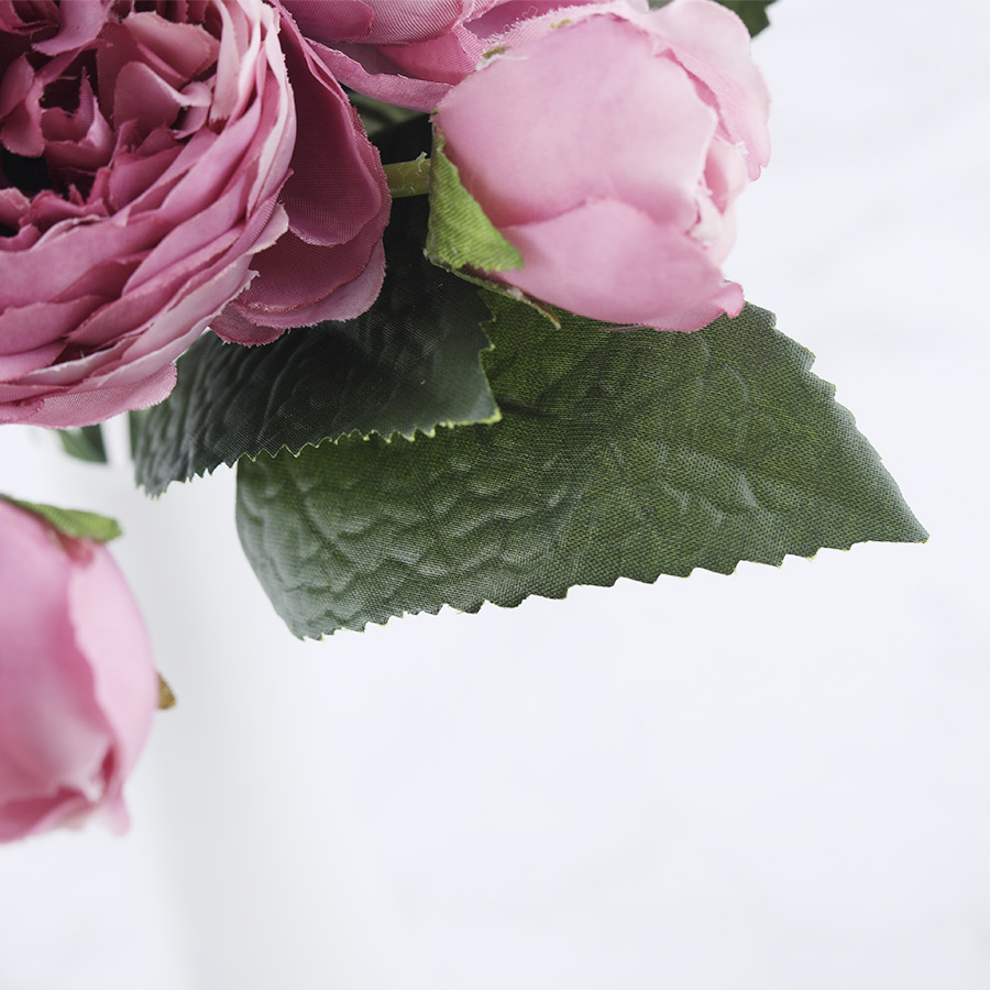 30cm Rose Pink Silk Peony Artificial Flowers Bouquet With 5 Big Head and 4 Bud Cheap for Home Decoration 5