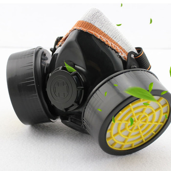 Gas mask chemical gas anti dust paint industrial respirator dual filter face safety protection mask with goggles wholesale