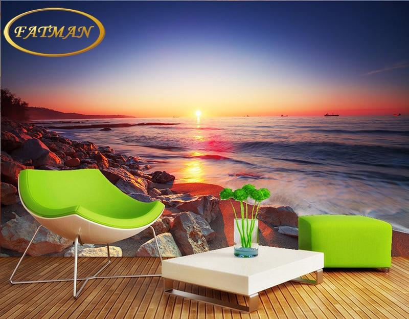 Custom Mural Wallpaper Hd Beautiful Sandy Beach Sea View: Custom 3D Photo Wallpaper HD Beautiful Sunset Sea Beach