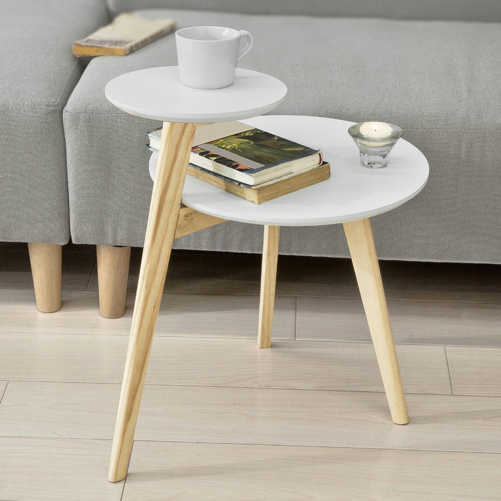 цены на SoBuy FBT53-WN, 2 Tiers Round Wooden Side Table Tea Coffee End Table Living Room Furniture