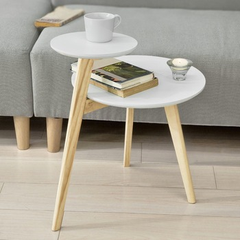SoBuy FBT53-WN, 2 Tiers Round Wooden Side Table Tea Coffee End Table  Living Room Furniture end table