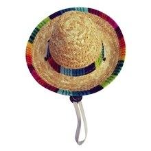 Mini Sombrero de paja para perros y mascotas Sombrero para el sol Sombrero  para la playa sombreros de paja para perros Sombrero . e9f710796ac