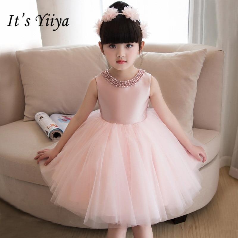 It's yiiya Hot Beading   Flower     Girl     Dresses   Elegant O-neck Pink Ball Gown Birthday Tank   Girl     Dress   TS248
