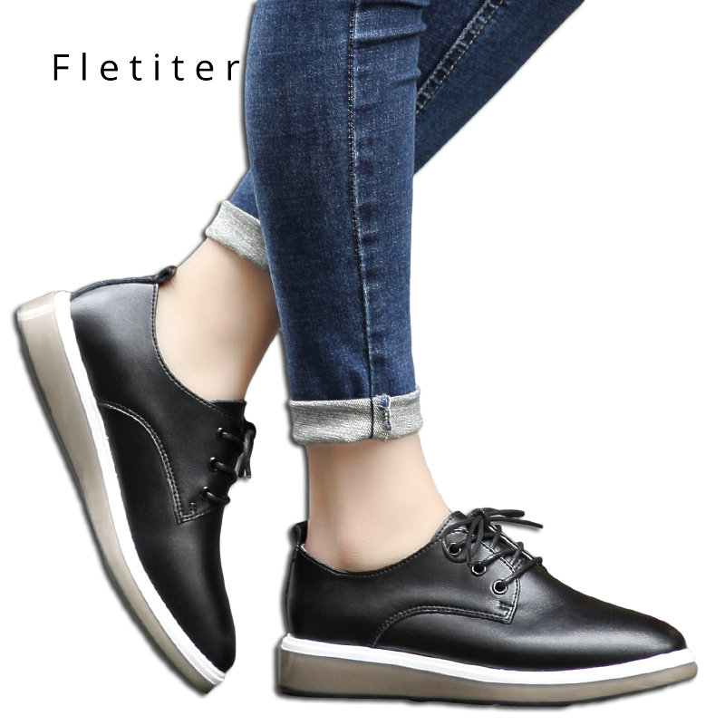 Spring Casual Shoes Solid Flats Women Flat Platform Lace-Up Round Toe Concise Genuine Leather Leisure Ladies Oxfords Fletiter vtota women genuine leather oxfords sneakers women white flat shoes spring platform shoes zapatos mujer lace up casual flats f93