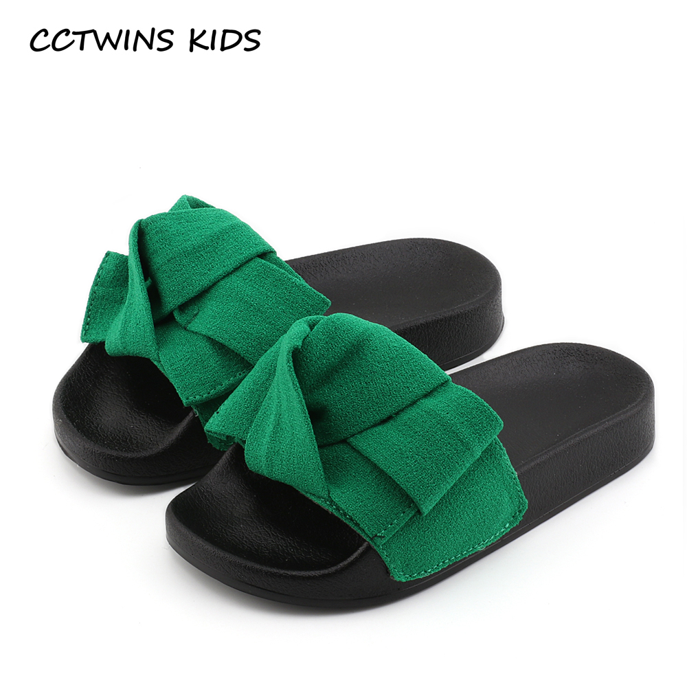 3f23ab909661 CCTWINS KIDS 2017 Summer Toddler Bow Children Slide Casual Beach Sandal  Baby Girl Black Mule Kid Fashion Slip On Slipper B797