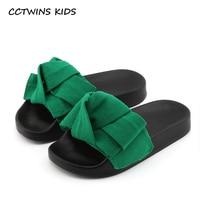 CCTWINS KIDS 2017 Summer Toddler Bow Children Slide Casual Beach Sandal Baby Girl Black Mule Kid