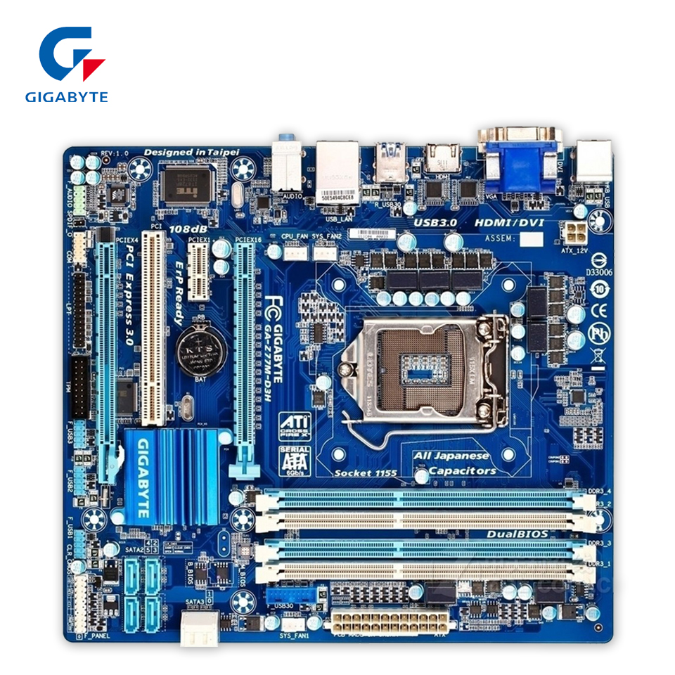 Gigabyte GA-Z77M-D3H Original Used Desktop Motherboard Z77M-D3H Z77 LGA 1155 i3 i5 i7 DDR3 32G SATA3 Micro-ATX asrock h61m vg4 original used desktop motherboard h61 socket lga 1155 i3 i5 i7 ddr3 16g usb2 0 micro atx
