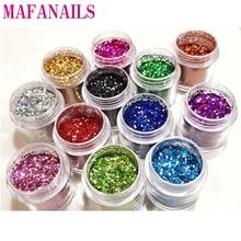 12Color Choice Mix Glitter 0.2-1mm Size Nail Glitter Flakes Body Decor Dust Powder For Eye Body Glitter Powder In 10ml Clear Jar