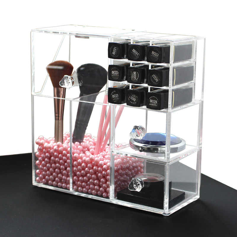 Acrylic Makeup Organizer Makeup Brush Display Box Cosmetics Tools Storage Holder Jewelry Accessory Case