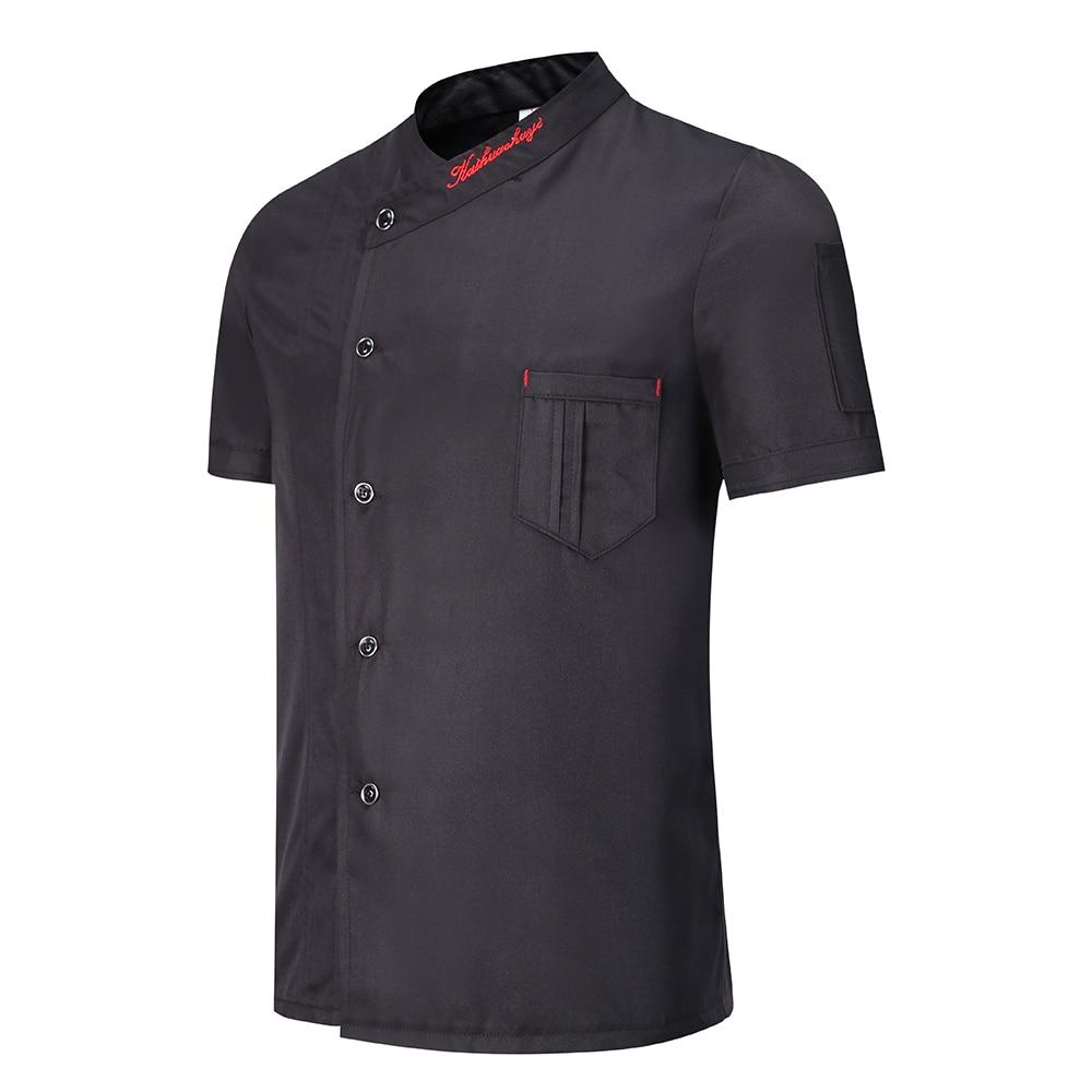 Унисекс Для мужчин Рубашка с короткими рукавами дышащая куртка повара Черные, белые, красные обращенной Кухня повара спецодеждой жаровня наряд сезон: весна–лето