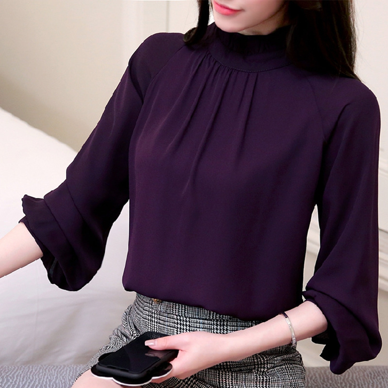 80748229 New Autumn 2018 womens tops and blouses Long Sleeve Chiffon Blouse Mujer  Fashion Ladies Shirts Tops
