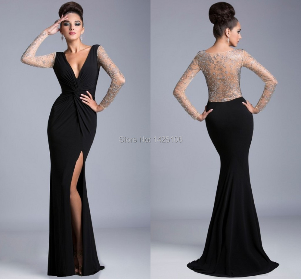 Online Get Cheap Sheer Black Long Sleeve Dress -Aliexpress.com ...
