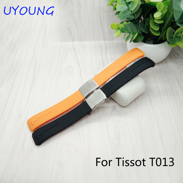 Natural Rubber Wathband 21*20mm Black Replacement Silicone Watch bands For T-Touch T013