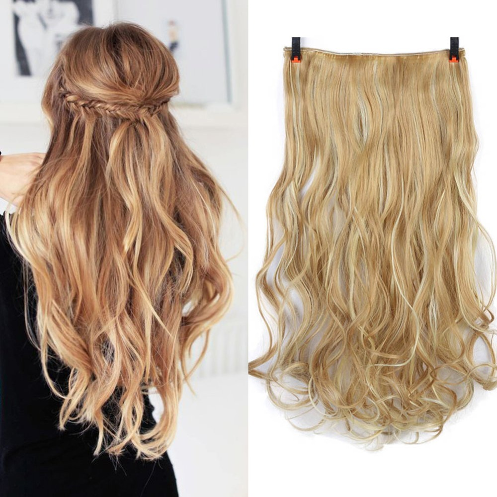 Long Curly Synthetic Clip in Hair Extensions Half Full Head Hairpiece 5 clips One Piece Black Brown Blonde AOSIWIG
