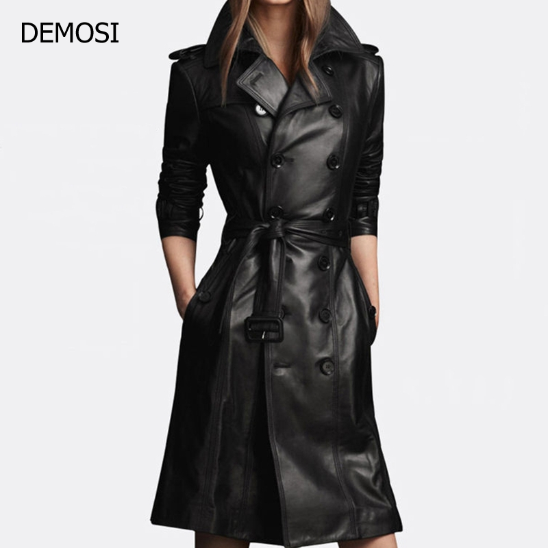 2018 Winter High Street Genuine Leather Long Sashes Women Large Size Female Slim Thin Thick Women Sheepskin Coat Double Breasted