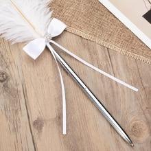 1pc Chic boda, pluma Bowknot firma pluma blanco de calidad libro signo Vintage pluma bolígrafos para banquetes, fiesta boda suministros