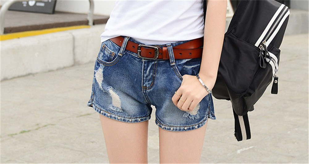 Mainland Retro Mid waist Women Short Jeans Woman Denim Female Wild Short-Pants Summer Loose Short Fashion Plus size Short jeans  (7)