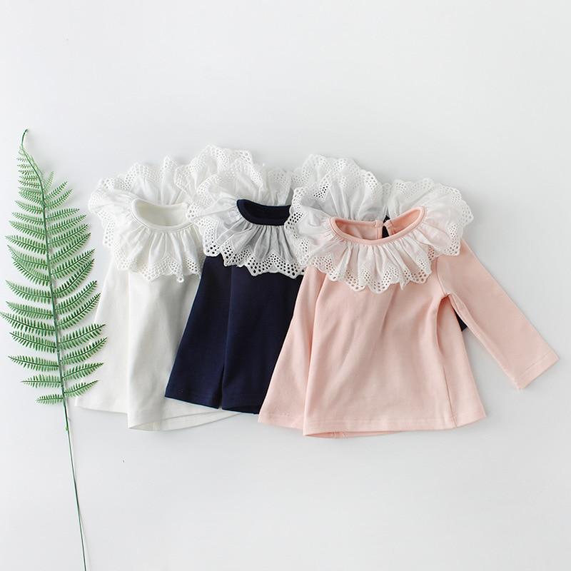 2018 Baby Meisjes Kleding Katoenen Baby Blouse Ruche Kraag Shirt Voor Peuter Meisjes Lange Mouw Basis Blouse Puur Wit En Doorschijnend