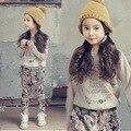 2017 Crianças Conjunto de Roupas de Primavera e Outono Meninas Floral Impresso Moletom Com Capuz de Algodão Terno